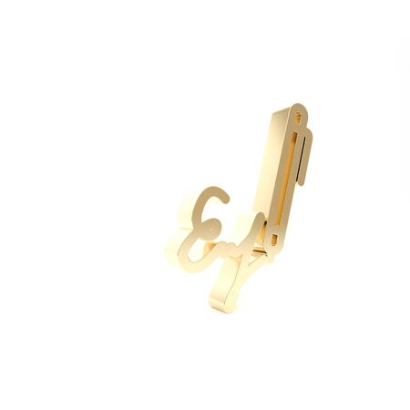 Gold Signature line icon isolated on white background. Pen and undersign, underwrite, ratify symbol. 3d illustration 3D render