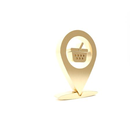 Gold Map pointer with shopping basket icon isolated on white background. Pin point shop and shopping. Supermarket basket symbol. 3d illustration 3D render