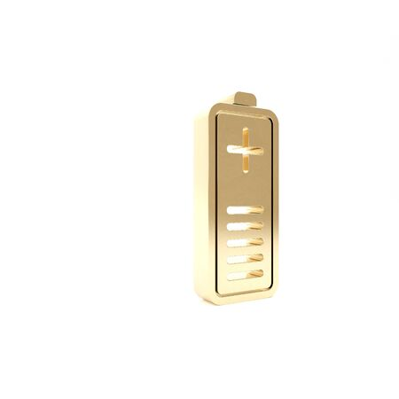 Gold Battery charge level indicator icon isolated on white background. 3d illustration 3D render 스톡 콘텐츠
