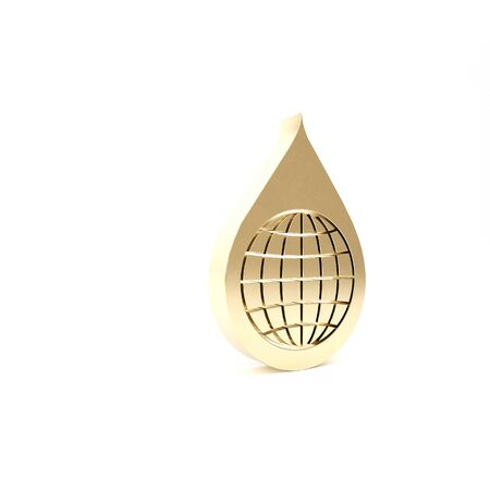 Pianeta terra d'oro nell'icona goccia d'acqua isolato su priorità bassa bianca. Globo del mondo e goccia d'acqua. Risparmiare acqua e tutelare l'ambiente nel mondo. Illustrazione 3D Rendering 3D