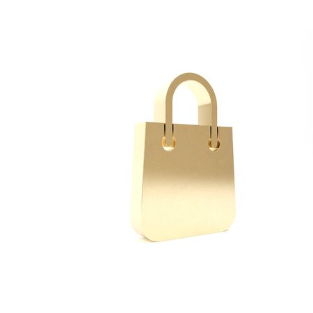 Gold Shopping bag icon isolated on white background. Package sign. 3d illustration 3D render Stock Photo