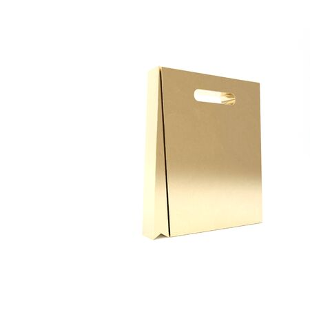 Gold Paper shopping bag icon isolated on white background. Package sign. 3d illustration 3D render Stock Photo