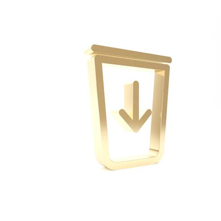 Gold Send to the trash line icon isolated on white background. 3d illustration 3D render Stock fotó