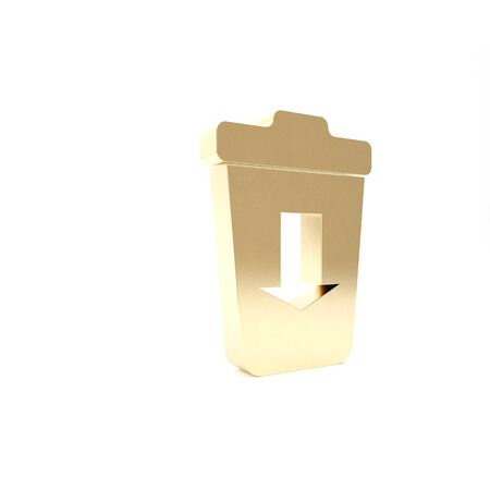 Gold Send to the trash icon isolated on white background. 3d illustration 3D render