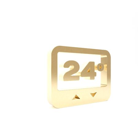 Gold Thermostat icon isolated on white background. Temperature control. 3d illustration 3D render Stockfoto