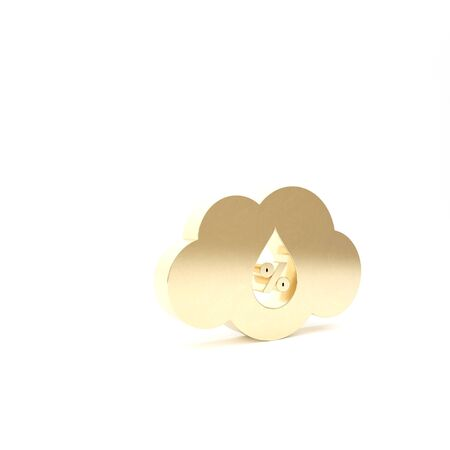 Gold Humidity icon isolated on white background. Weather and meteorology, cloud, thermometer symbol. 3d illustration 3D render