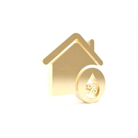 Gold House humidity icon isolated on white background. Weather and meteorology, thermometer symbol. 3d illustration 3D render