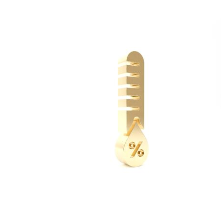 Gold Humidity icon isolated on white background. Weather and meteorology, thermometer symbol. 3d illustration 3D render 스톡 콘텐츠