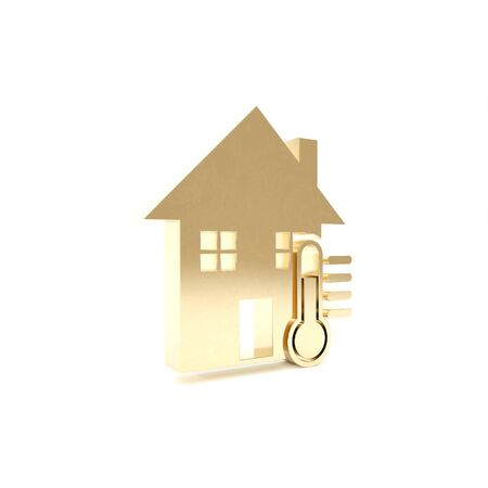 Gold House temperature icon isolated on white background. Thermometer icon. 3d illustration 3D render