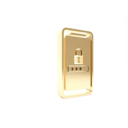 Gold Mobile phone and password protection icon isolated on white background. Security, safety, personal access, user authorization, privacy. 3d illustration 3D render Stock Photo