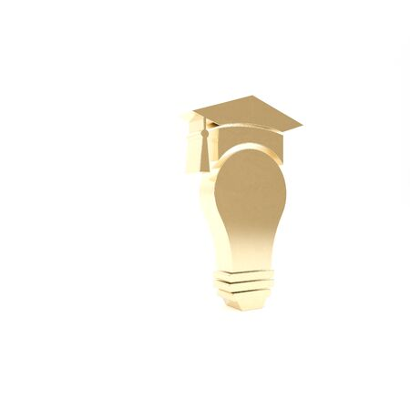 Gold Light bulb and graduation cap icon isolated on white background. University Education concept. 3d illustration 3D render