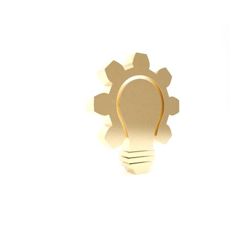 Gold Light bulb and gear icon isolated on white background. Innovation concept. Business idea. 3d illustration 3D render