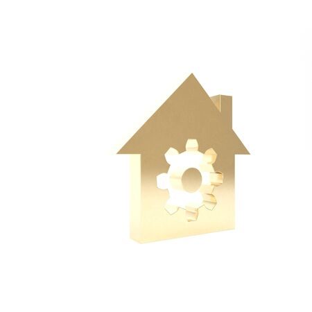 Gold Smart home settings icon isolated on white background. Remote control. 3d illustration 3D render Stockfoto