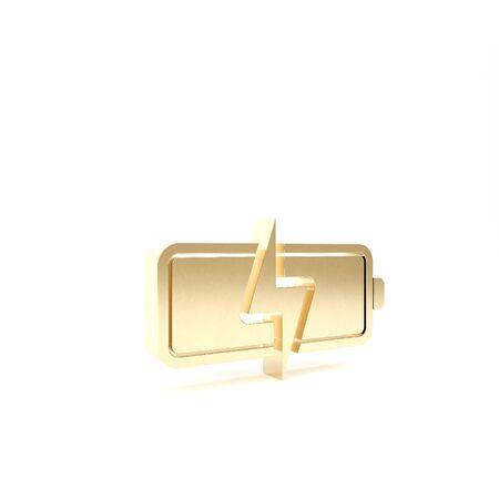 Gold Battery icon isolated on white background. Lightning bolt symbol. 3d illustration 3D render