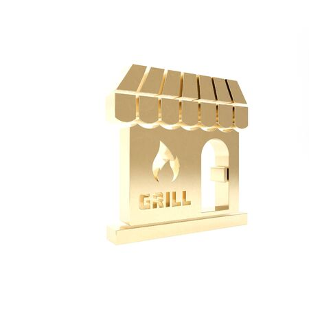 Gold Barbecue shopping building or market store icon isolated on white background. BBQ grill party. Shop construction. 3d illustration 3D render Stock Photo