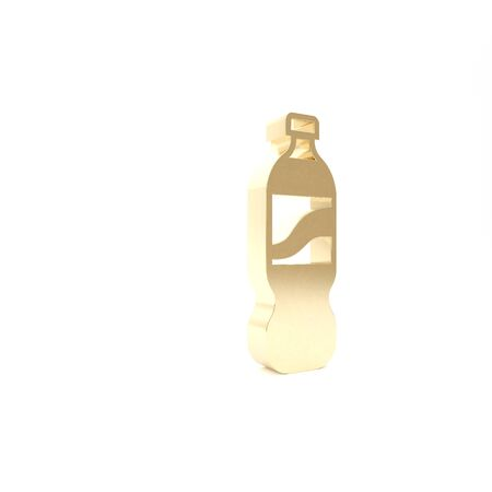 Gold Bottle of water icon isolated on white background. Soda aqua drink sign. 3d illustration 3D render Stockfoto