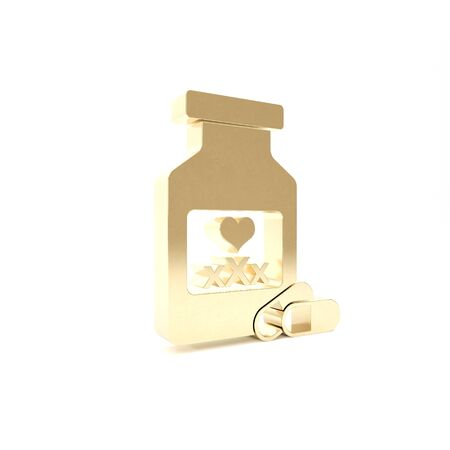 Gold Medicine bottle with pills for potency, aphrodisiac icon isolated on white background. Sex pills for men and women. 3d illustration 3D render