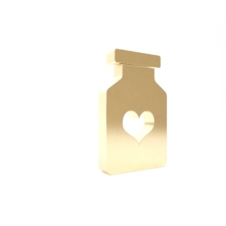 Gold Medicine bottle with pills for potency, aphrodisiac icon isolated on white background. Reklamní fotografie