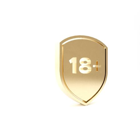 Gold Shield with inscription 18 plus icon isolated on white background. Adults content only. Protection, safety, security, protect concept. 3d illustration 3D render