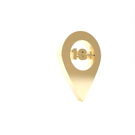 Gold Map pointer with 18 plus icon isolated on white background. Age restriction symbol. 18 plus content sign. Adults content only icon. 3d illustration 3D render Фото со стока - 133460080