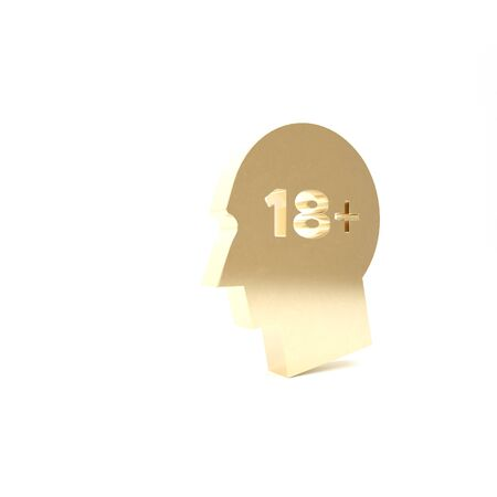 Gold Human head with inscription 18 plus icon isolated on white background. 18 plus content sign. Adults content only icon. 3d illustration 3D render Stok Fotoğraf