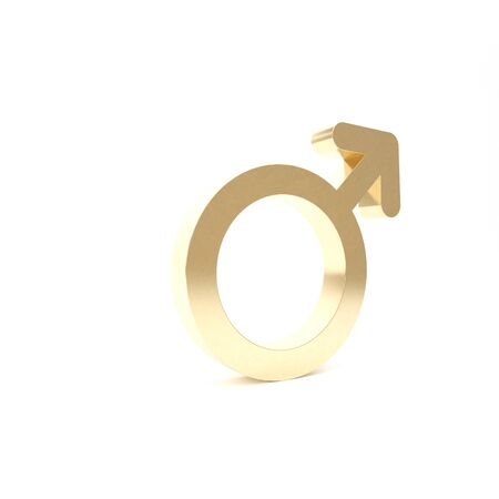 Gold Male gender symbol icon isolated on white background. 3d illustration 3D render