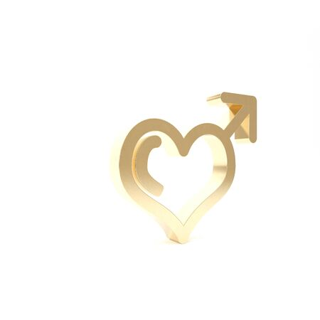 Gold Male gender symbol and heart icon isolated on white background. 3d illustration 3D render