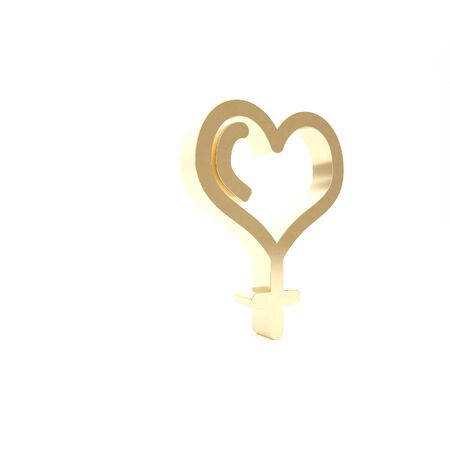 Gold Female gender symbol and heart icon isolated on white background. Venus symbol. The symbol for a female organism or woman. Standard-Bild - 133460088