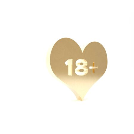 Gold 18 plus content heart icon isolated on white background. Adults content only icon. 3d illustration 3D render