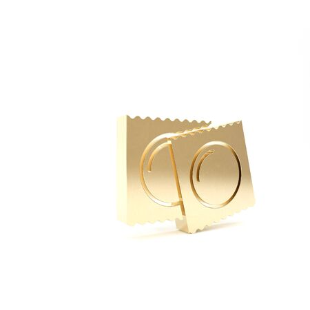 Gold Condoms in package safe sex icon isolated on white background. Safe love symbol. Contraceptive method for male. 3d illustration 3D render Stok Fotoğraf