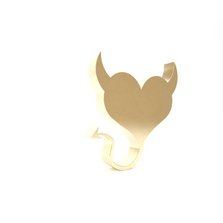 Gold Devil heart with horns and a tail icon isolated on white background. Valentines Day symbol. 3d illustration 3D render