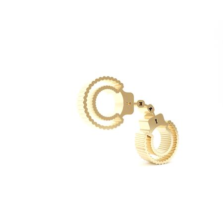 Gold Sexy fluffy handcuffs icon isolated on white background. Handcuffs with fur. Fetish accessory. Sex shop stuff for sadist and masochist. 3d illustration 3D render Banco de Imagens