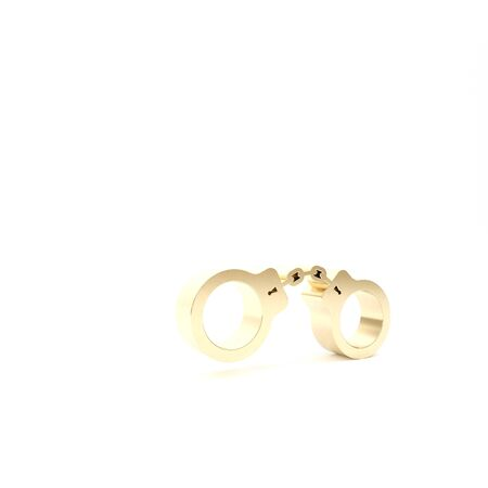 Gold Handcuffs icon isolated on white background. 3d illustration 3D render Stock Photo