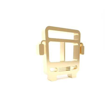 Gold Bus icon isolated on white background. Transportation concept. Bus tour transport sign. Tourism or public vehicle symbol. 3d illustration 3D render Stock Photo