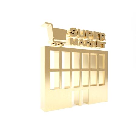 Gold Supermarket building with shopping cart icon isolated on white background. Shop or store. Mall building. 3d illustration 3D render