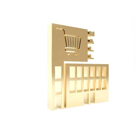 Gold Mall or supermarket building with shopping cart icon isolated on white background. Shop or store. 3d illustration 3D render Stock Photo