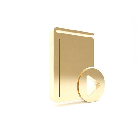 Gold Audio book icon isolated on white background. Play button and book. Audio guide sign. Online learning concept. 3d illustration 3D render