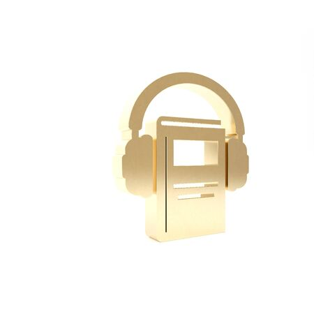 Gold Audio book icon isolated on white background. Book with headphones. Audio guide sign. Online learning concept. 3d illustration 3D render