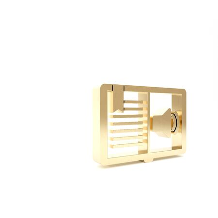 Gold Audio book icon isolated on white background. Audio guide sign. Online learning concept. 3d illustration 3D render
