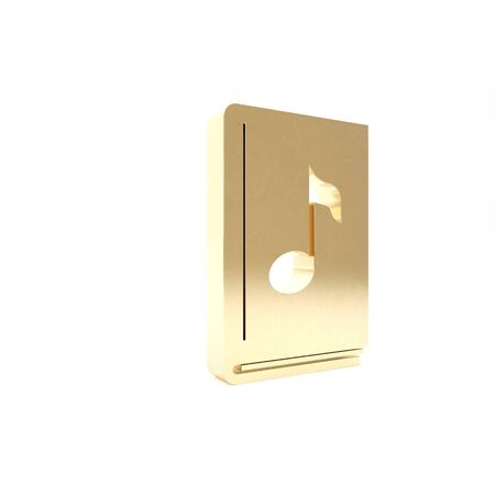 Gold Audio book icon isolated on white background. Musical note with book. Audio guide sign. Online learning concept. 3d illustration 3D render