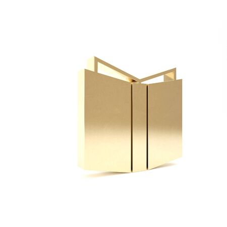 Gold Open book icon isolated on white background. 3d illustration 3D render Reklamní fotografie