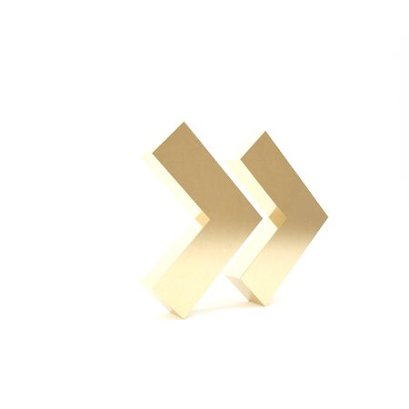 Gold Arrow icon isolated on white background. Direction Arrowhead symbol. Navigation pointer sign. 3d illustration 3D render Stockfoto
