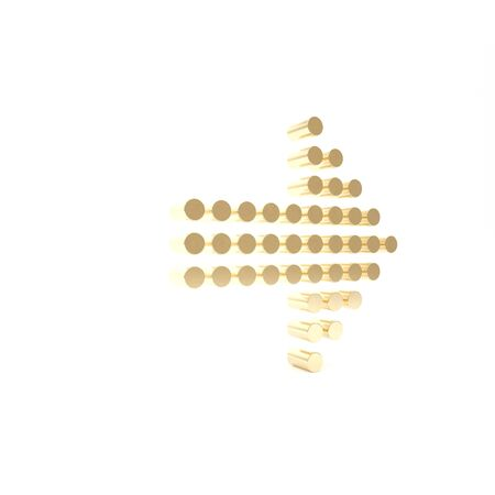 Gold Dots arrow icon isolated on white background. Halftone arrow. Dotted arrow sign. 3d illustration 3D render
