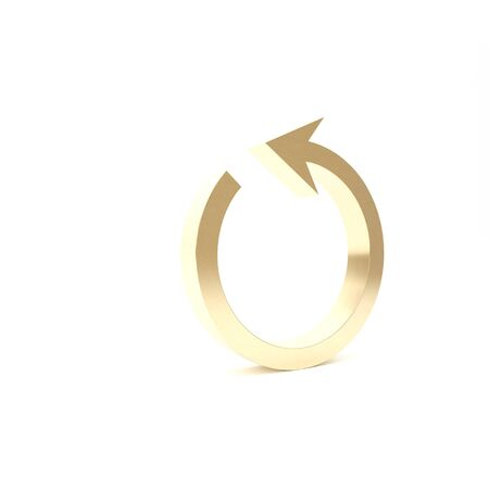 Gold Refresh icon isolated on white background. Reload symbol. Rotation arrow in a circle sign. 3d illustration 3D render Фото со стока