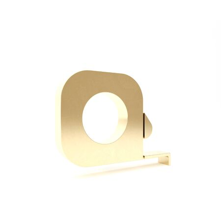 Gold Roulette construction icon isolated on white background. Tape measure symbol. 3d illustration 3D render