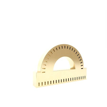 Gold Protractor grid for measuring degrees icon isolated on white background. Tilt angle meter. Measuring tool. Geometric symbol. 3d illustration 3D render