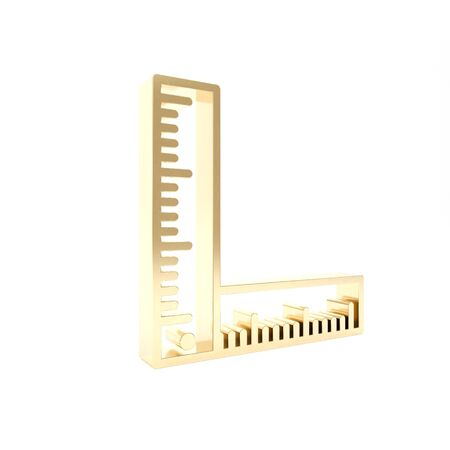 Gold Folding ruler icon isolated on white background. 3d illustration 3D render