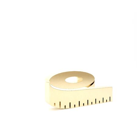 Gold Tape measure icon isolated on white background. Measuring tape. 3d illustration 3D render