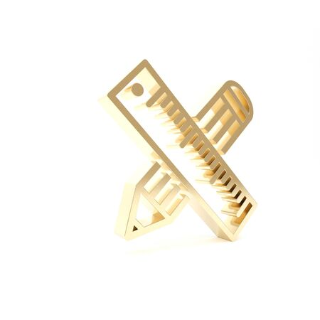 Gold Crossed ruler and pencil icon isolated on white background. Straightedge symbol. Drawing and educational tools. 3d illustration 3D render