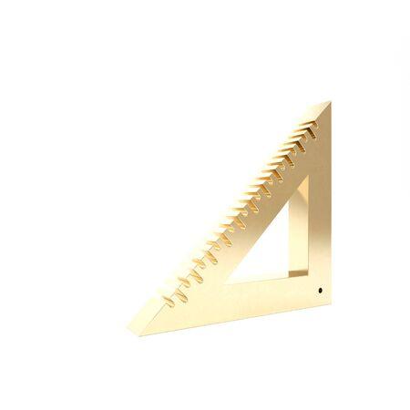 Gold Triangular ruler icon isolated on white background. Straightedge symbol. Geometric symbol. 3d illustration 3D render